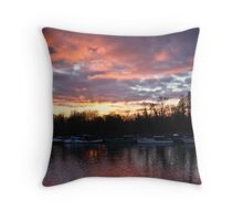 Red Thames Throw Pillow