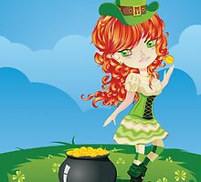 Leprechaun Girl on Grass Field by AnnArtshock