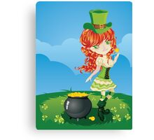 Leprechaun Girl on Grass Field Canvas Print