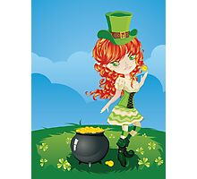 Leprechaun Girl on Grass Field Photographic Print