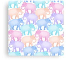 Multicolored Indian Elephant Pattern Canvas Print