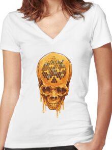 Yellow Skull Women's Fitted V-Neck T-Shirt