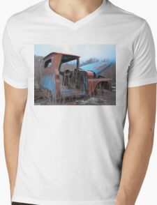 Truck in weeds c4 Mens V-Neck T-Shirt