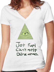 Jet Fuel Can't Melt Dank Memes Women's Fitted V-Neck T-Shirt