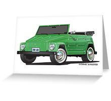 VW Volkswagen Thing Convertible Green Greeting Card