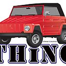 VW 181 Thing Kuebelwagen Trekker  Red & Type by Frank Schuster