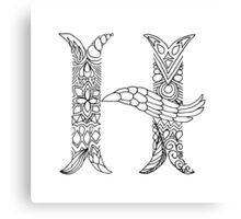 Patterned Letter H Canvas Print