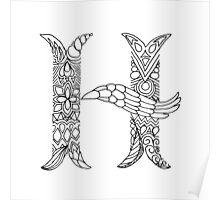 Patterned Letter H Poster