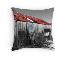 The old barn in snow Throw Pillow