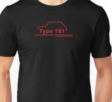 VW 181 Thing Kuebelwagen Trekker Acapulco Red Silhouette Unisex T-Shirt