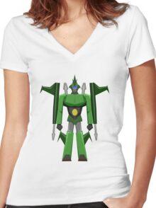 WARRIOR ROBOT Women's Fitted V-Neck T-Shirt