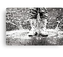 Puddle Jumping BW Canvas Print
