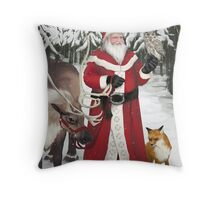 Santa in the Forest Throw Pillow
