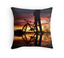A Boy and His Bike Throw Pillow