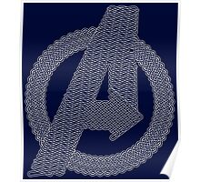 Celtic Avengers A logo, White Outline, no Fill Poster