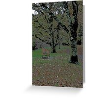 park-bench-in-puddles  Greeting Card