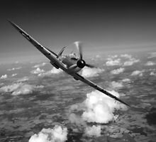 Battle of Britain Spitfire black and white version by Gary Eason + Flight Artworks
