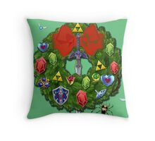 Zelda Christmas Card: Zelda themed Wreath Throw Pillow