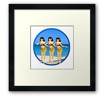 Three Hula Girls Dancing the Hula Framed Print