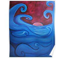 Blown Ocean Waves Poster