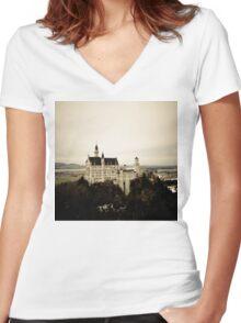 Castle Neuschwanstein Women's Fitted V-Neck T-Shirt