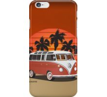 21 Window VW Bus Red Surfboard in Desert iPhone Case/Skin