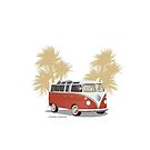 VW Bus 21 Window Samba Van Red Palms by Frank Schuster