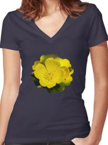 Yellow Primrose Flowers Women's Fitted V-Neck T-Shirt