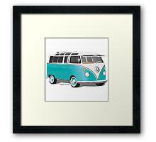 VW Bus T2 Teal White Framed Print