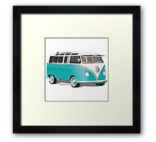 VW Bus T2 Teal White Framed Print