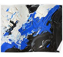 Abstract Blue, Black and White Design, Contemporary Art  Poster