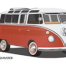 21 Window VW Bus Red/White with Surfboard by Frank Schuster