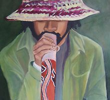 didge player on swanston by Bernadette Burke