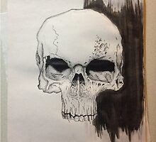 Skull Drawing on paper by BMArtwork