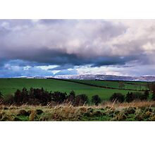 Green fields, white hills Photographic Print