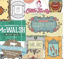Vintage foodie collage food wine coffee tea restaurant by BigMRanch