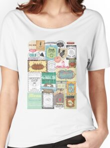 Vintage foodie collage food wine coffee tea restaurant Women's Relaxed Fit T-Shirt