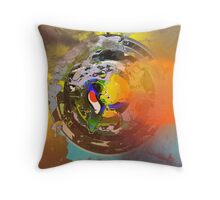 Faded antique art, modern abstract, multicolored Throw Pillow