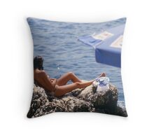 Sunbather near Kas, Turkey. Throw Pillow