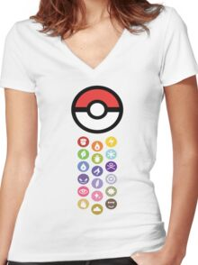 Pokemon Types  Women's Fitted V-Neck T-Shirt