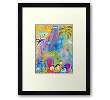 Penguins, sightseeing medieval Architecture Framed Print