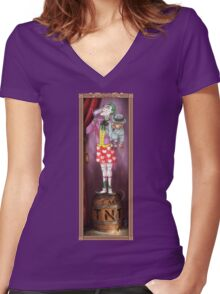 Haunted Arkham: Barrel of Laughs Women's Fitted V-Neck T-Shirt