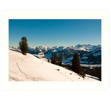 winter scene in swiss alps Art Print