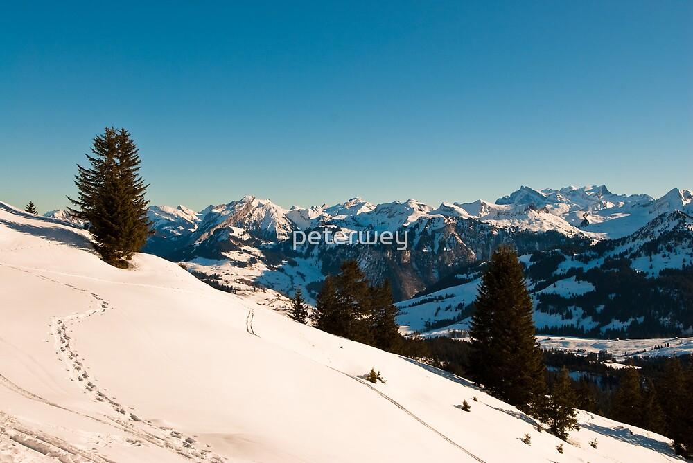 winter scene in swiss alps by peterwey