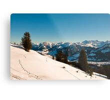 winter scene in swiss alps Metal Print