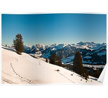 winter scene in swiss alps Poster