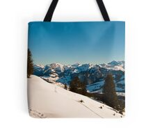 winter scene in swiss alps Tote Bag