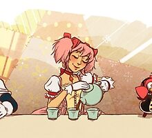Puella Magi Holy Quintet Tea Party by paigeonecomics