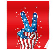American Patriotic Victory Peace Hand Fingers Sign Poster