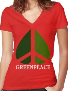 Greenpeace Funny Geek Nerd Women's Fitted V-Neck T-Shirt